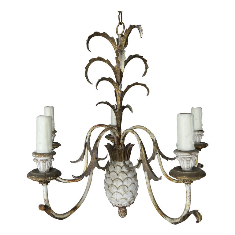 Painted Italian Wood & Metal Pineapple Chandelier, circa 1940s $1,650