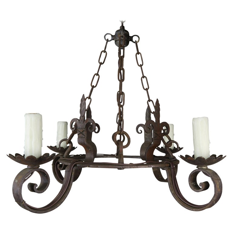 Spanish Wrought Iron 4-Light Chandelier $2,400