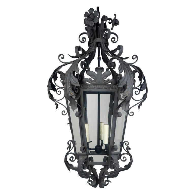 Spanish Wrought Iron Lantern w: Flowers & Acanthus Leaves, Circa 1920's $5,800