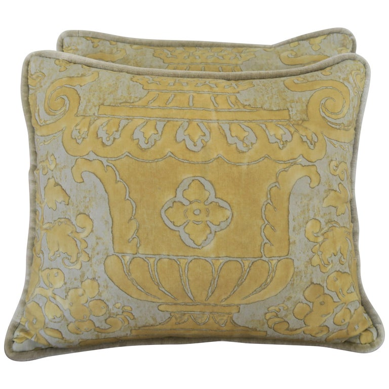 Vintage Accent Fortuny Pillows with Urns, a Pair $450