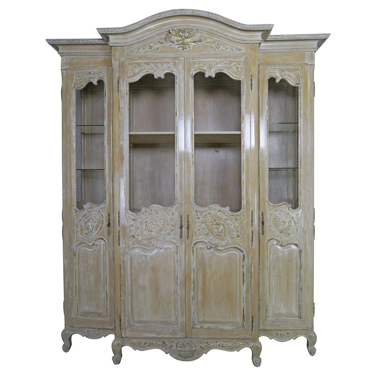 Antique Painted French Louis XV Style Cabinet