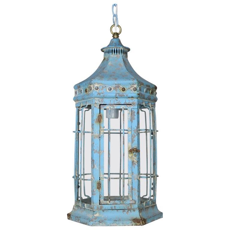 Blue Painted Pagoda Shaped Lantern with Original Glass $1,800