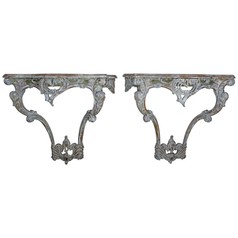 French Carved Painted Louis XV Style Consoles, a Pair $3,800