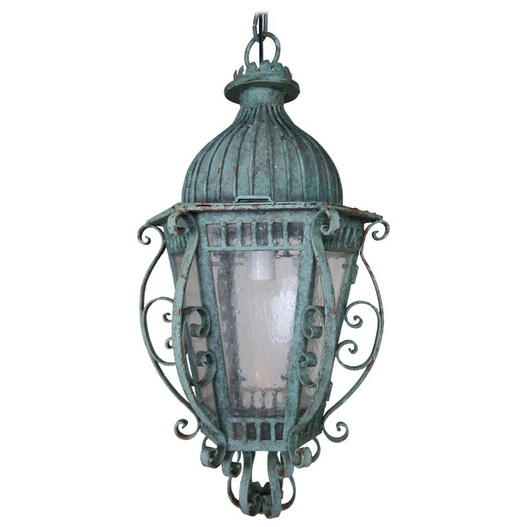 Painted French Wrought Iron Lantern with Domed Shaped Top, circa 1930s $2,800