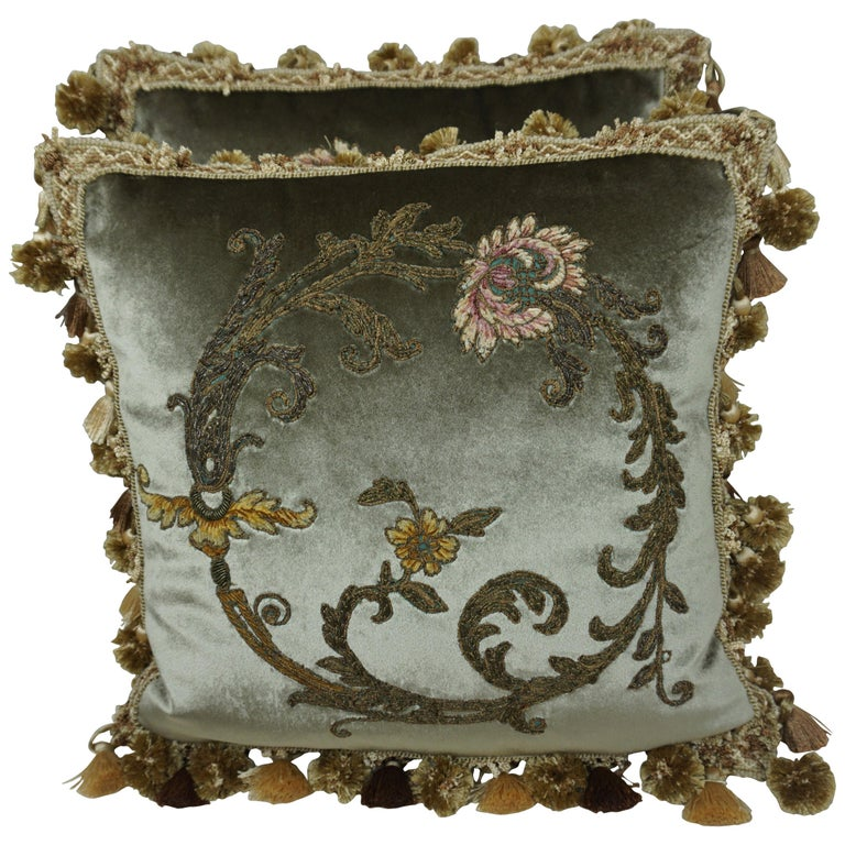 Pair of Custom Velvet Applique' Pillows by Melissa Levinson $1,800
