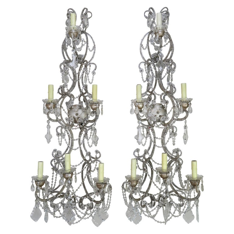 Pair of Six-Light Italian Crystal Beaded Sconces $5,800