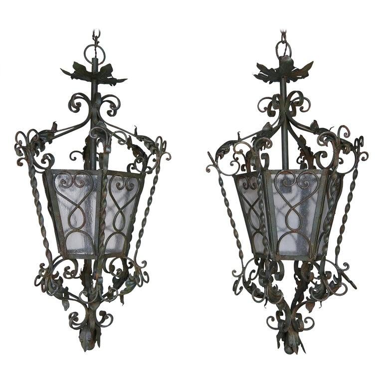 Pair of Spanish Handwrought Iron Lanterns, circa 1940s $4,800