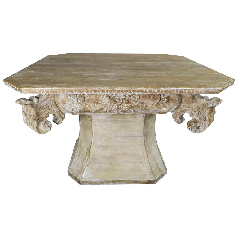 Unique French Carved Wood Dining or Center Table, circa 1930s $6,800
