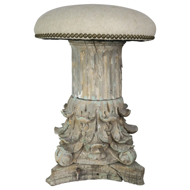 19th Century Italian Carved Capital Stool with Linen Upholstery $1,250