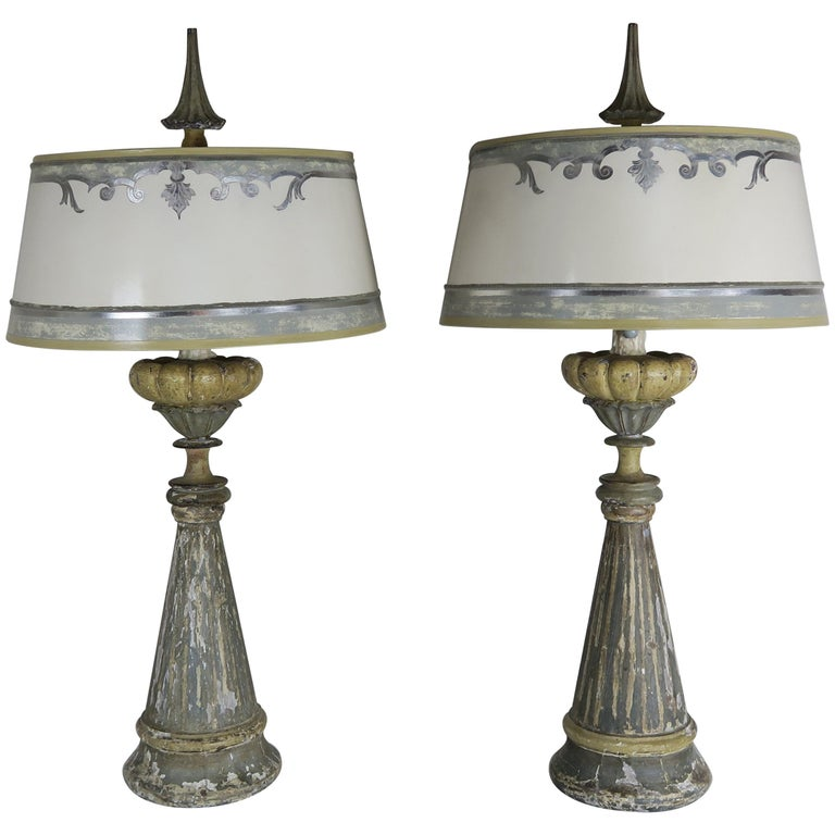 19th Century Swedish Painted Wood Lamps with Parchment Shades $4,500