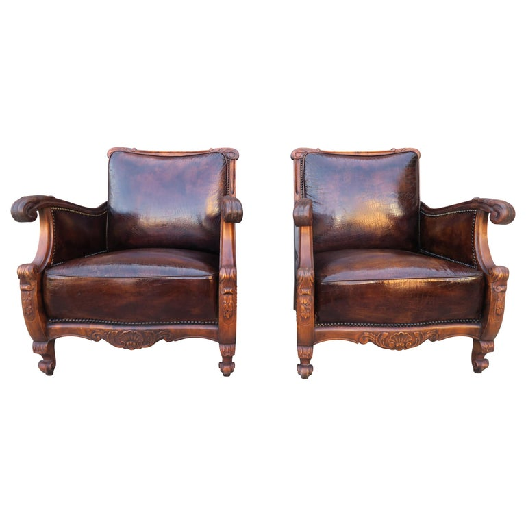 Pair of French Leather Embossed Armchairs, circa 1930s $6,800