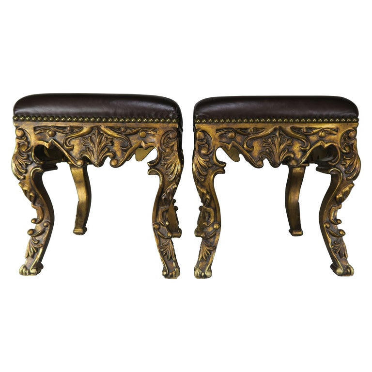 Pair of French Louis XV Leather Benches, circa 1950s $2,400