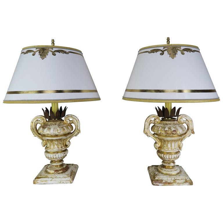 Pair or French Carved Urn Lamps with Parchment Shades $2,800