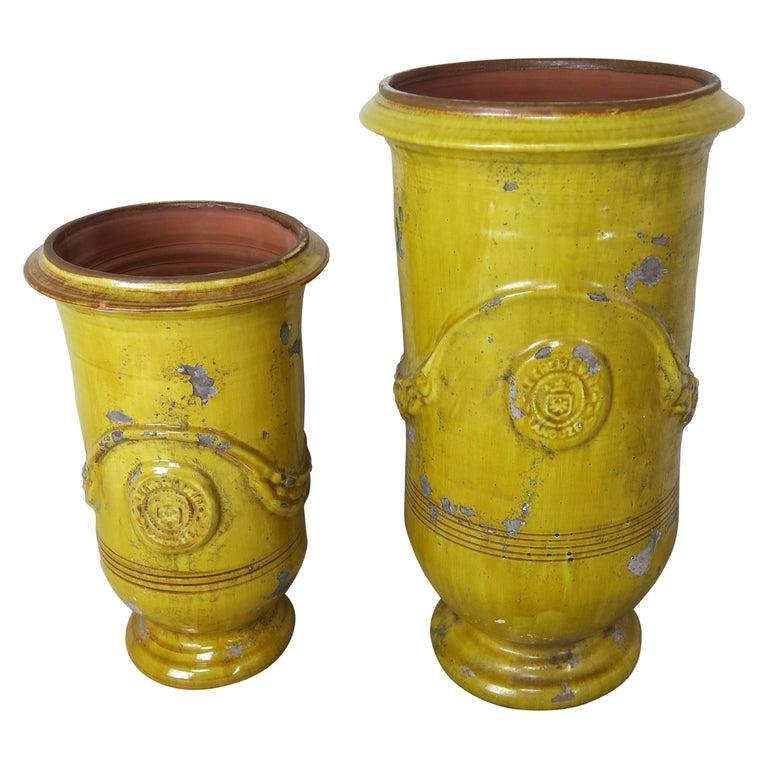 Two French Glazed Ceramic Urns $1,800