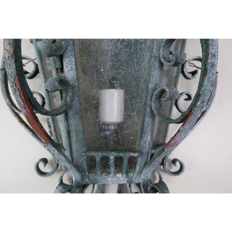 french-louis-xv-style-painted-wrought-iron-lantern-sconces-pair-2655