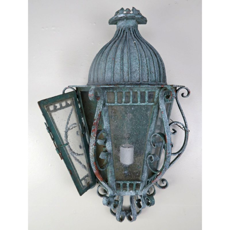 french-louis-xv-style-painted-wrought-iron-lantern-sconces-pair-3412