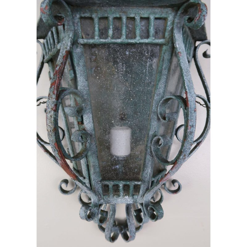 french-louis-xv-style-painted-wrought-iron-lantern-sconces-pair-8473