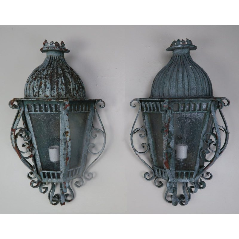 french-louis-xv-style-painted-wrought-iron-lantern-sconces-pair-8941