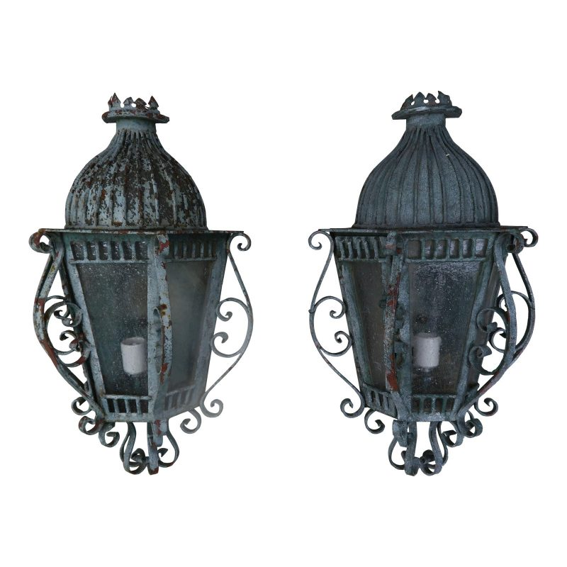 french-louis-xv-style-painted-wrought-iron-lantern-sconces-pair-9257