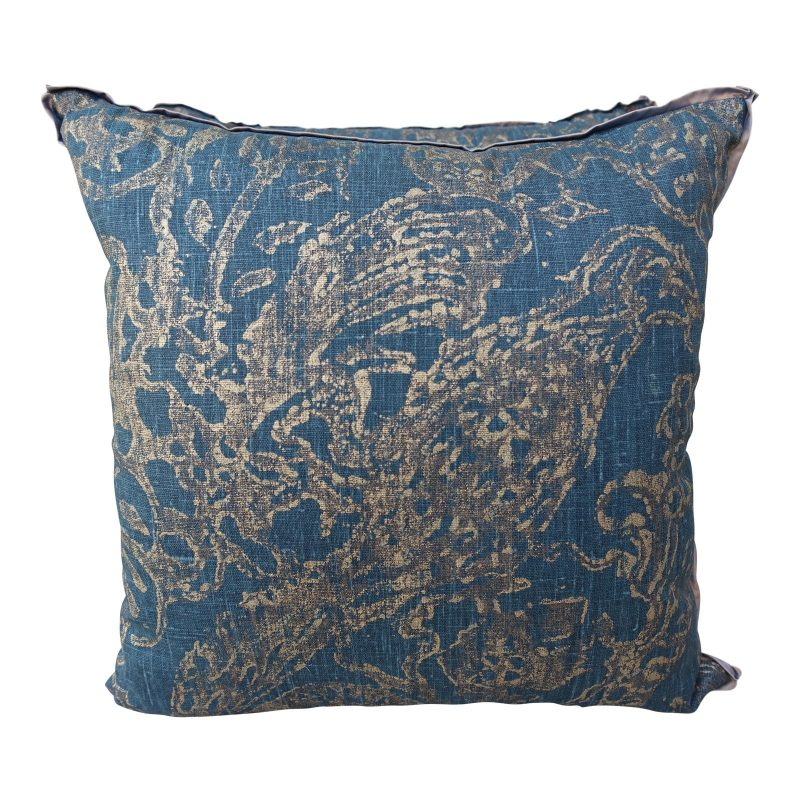 Blue Teal and Gold Stenciled Linen Pillows - A Pair Price-$295