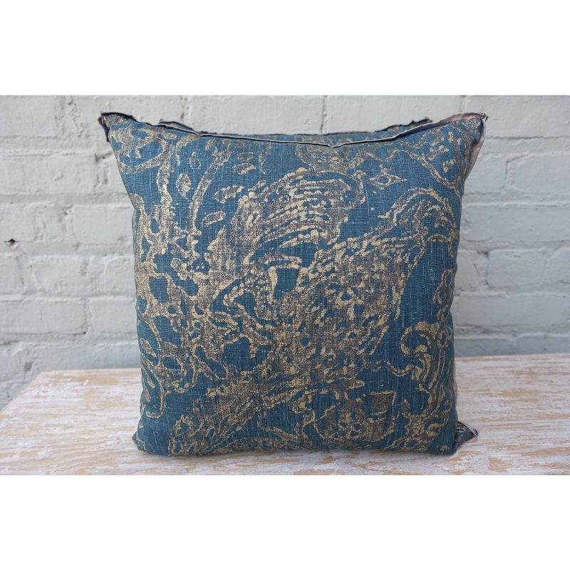Blue Teal and Gold Stenciled Linen Pillows - A Pair Price-$295a