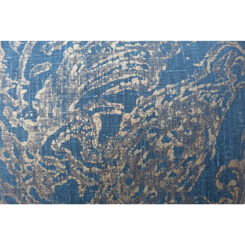 Blue Teal and Gold Stenciled Linen Pillows - A Pair Price-$295b