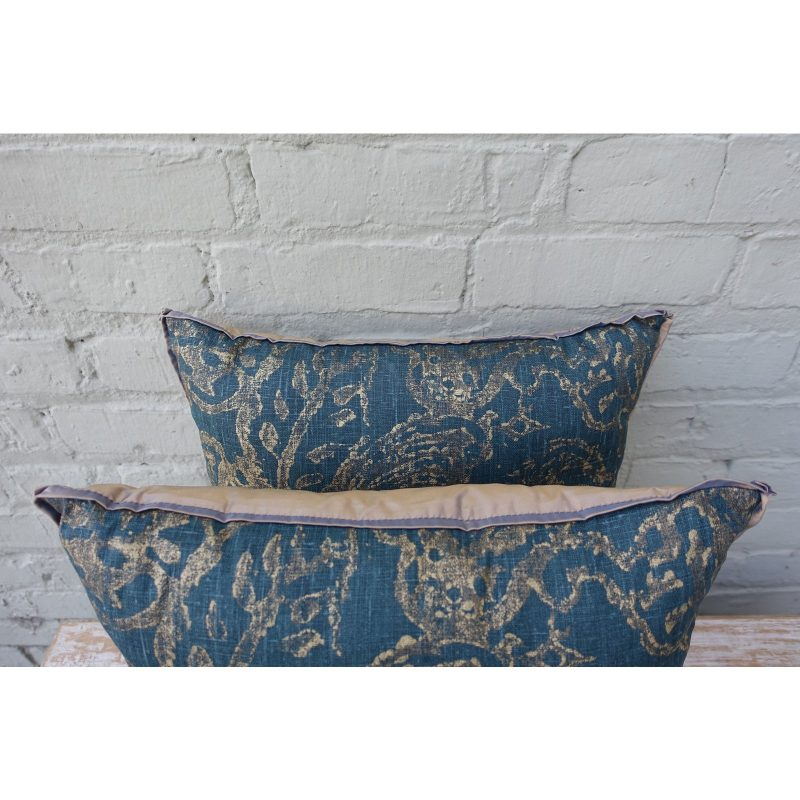 Blue Teal and Gold Stenciled Linen Pillows - A Pair Price-$295c