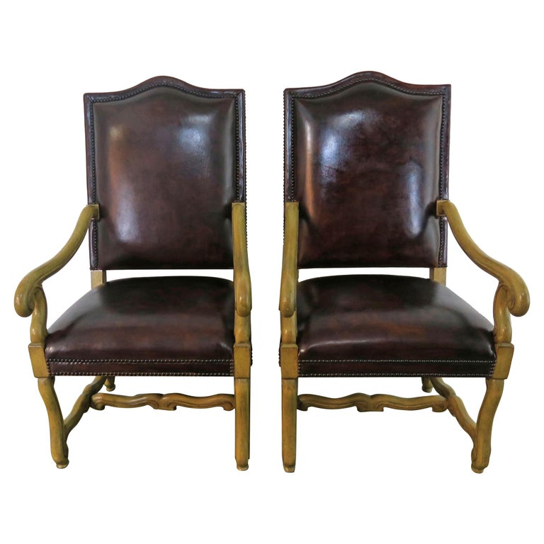Italian Tuscan Style Leather Upholstered Armchairs, Pair $4,500