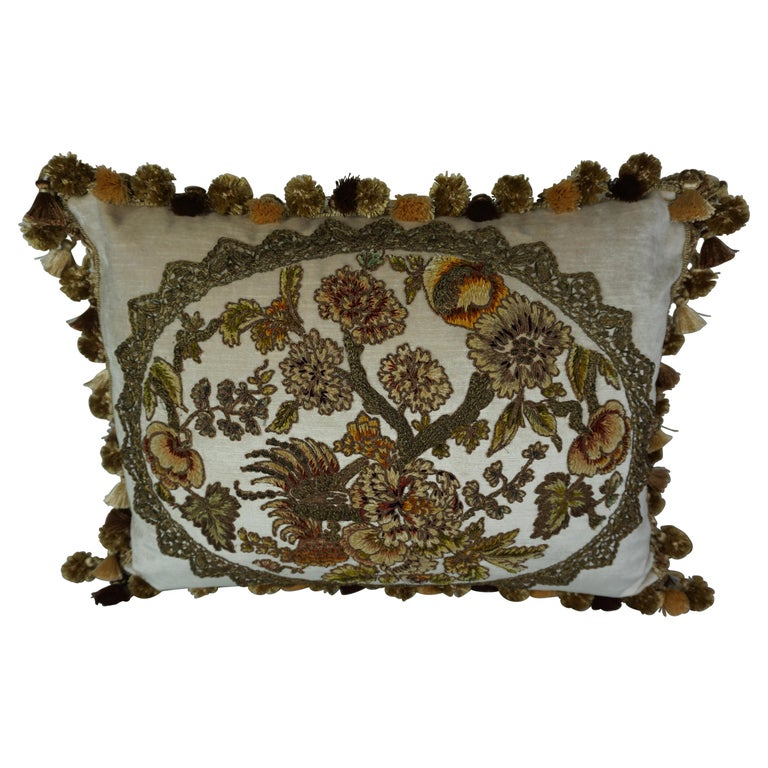 Metallic and Chenille Appliqued Pillow by Melissa Levinson $1,200