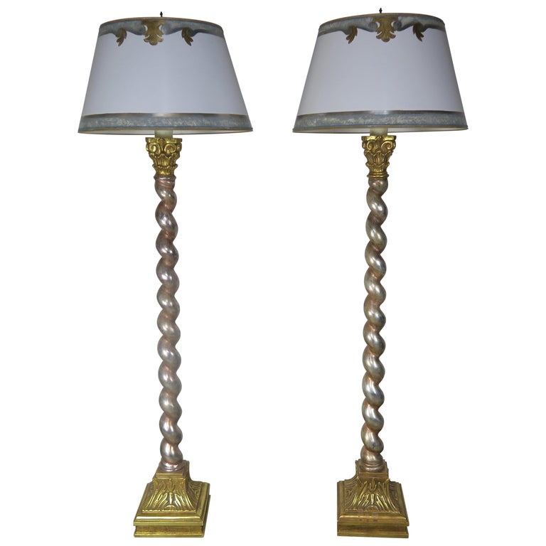 Pair of Silver & Gold Leaf Standing Lamps with Parchment Shades $6,500