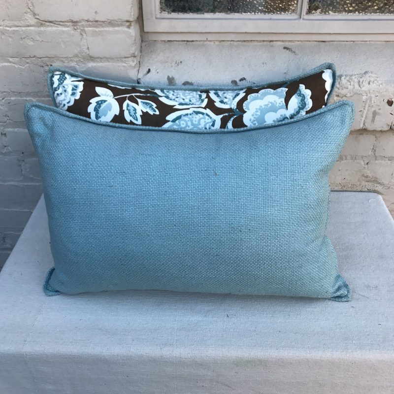 brown-and-blue-foral-pillows-a-pair-3940