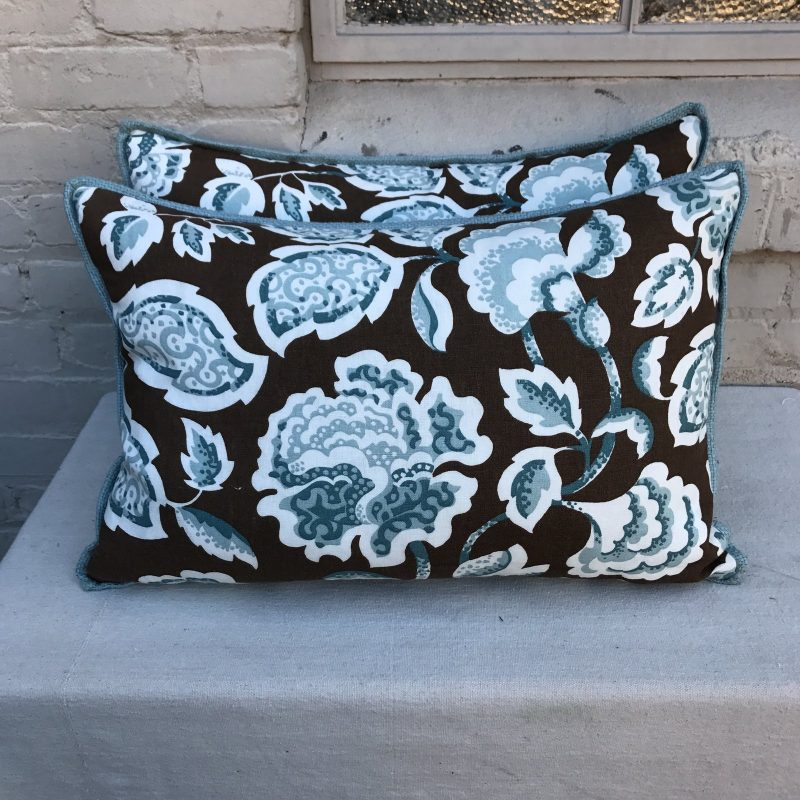 brown-and-blue-foral-pillows-a-pair-5124