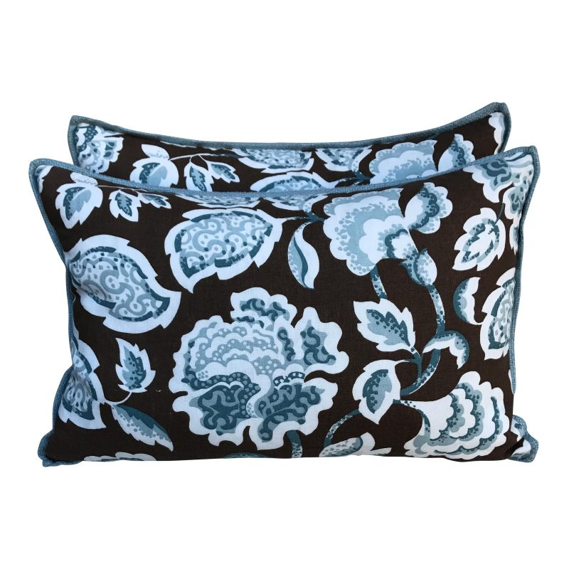 brown-and-blue-foral-pillows-a-pair-7289