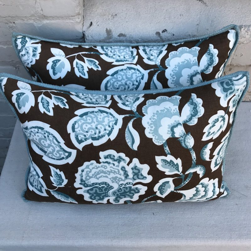 brown-and-blue-foral-pillows-a-pair-8898