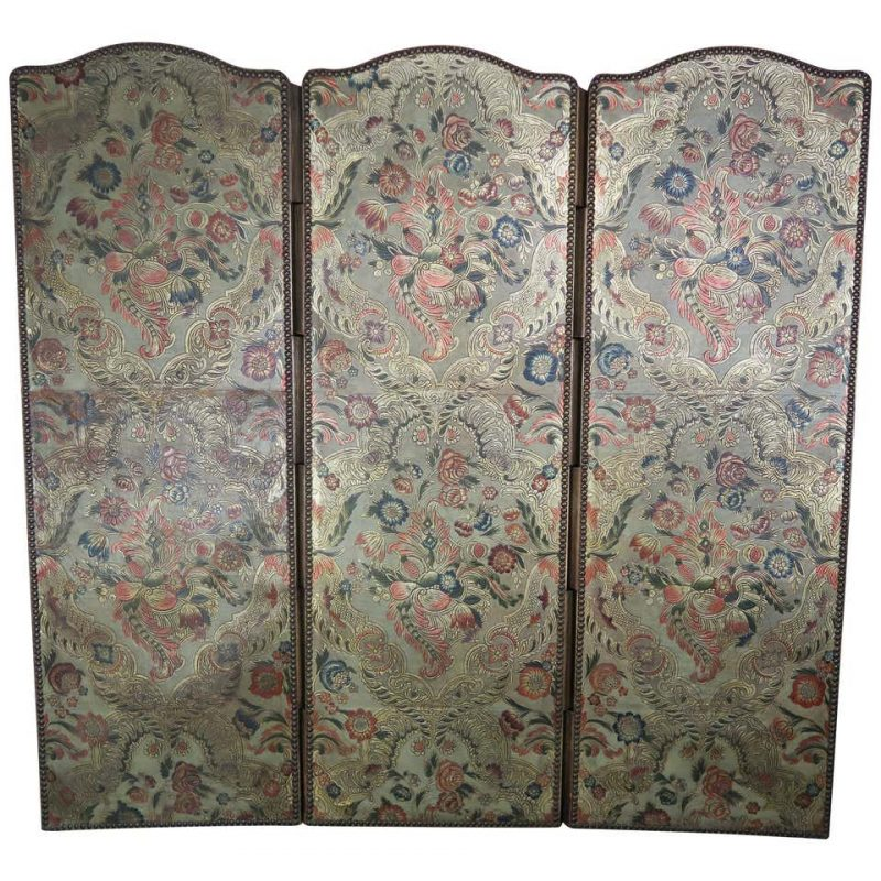 19th Century Embossed Three-Panel Leather Screen $3,800