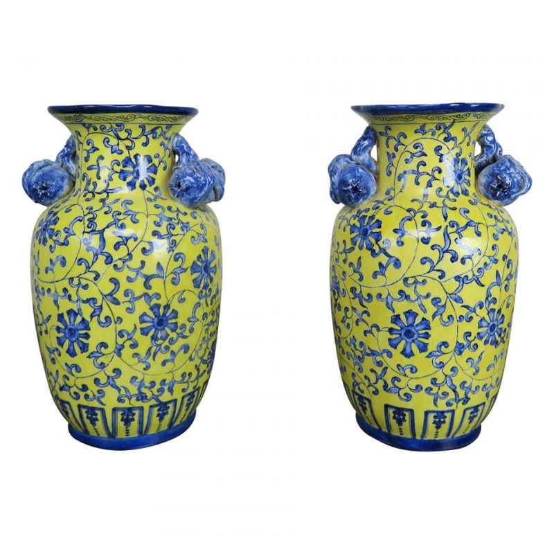 Blue and Yellow Glazed Chinese Vases, Pair $1,200