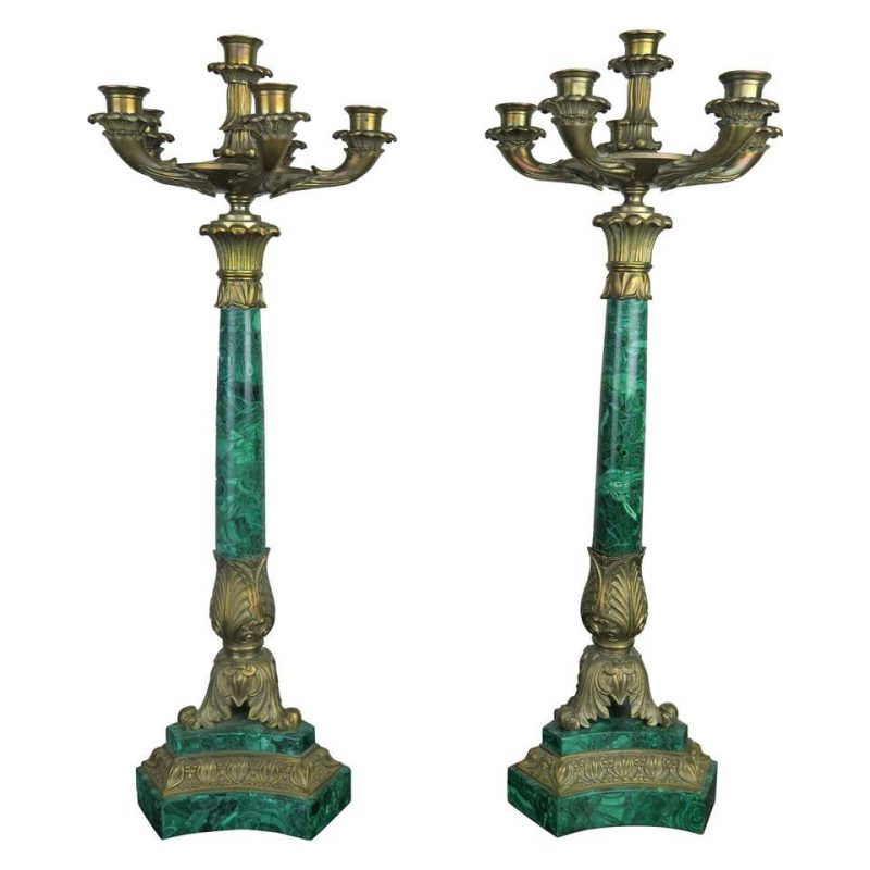 Pair of 19th Century Bronze and Malachite Candelabras $4,800