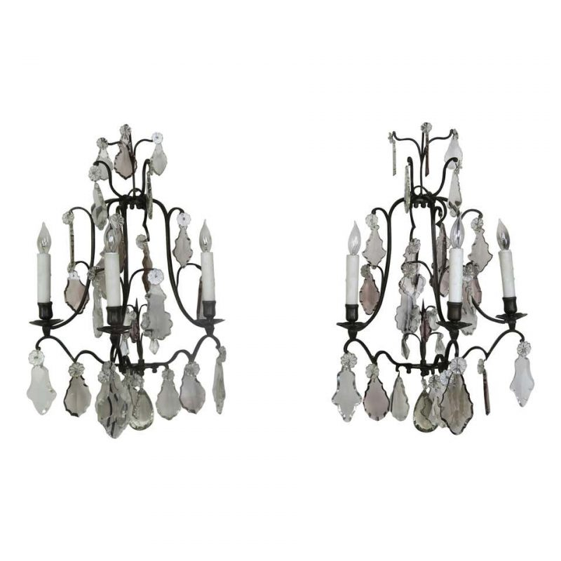Pair of French 3-Light Crystal Sconces $2,400
