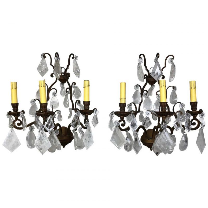 Pair of French Rock Crystal Sconces, circa 1930s $3,800